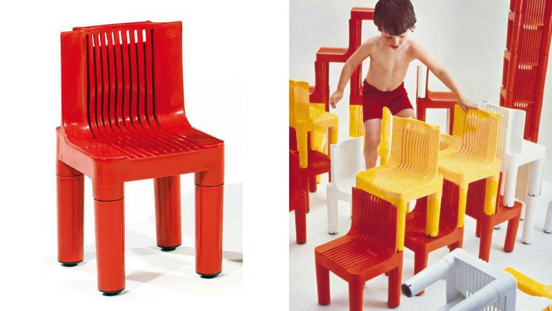Links: Der Stuhl K1340 war der erste, der komplett aus verstärktem Kunststoff hergestellt wurde | Foto via Tajan | Rechts: Eine zeitgenössische Werbefotografie | Foto: ©Kartell