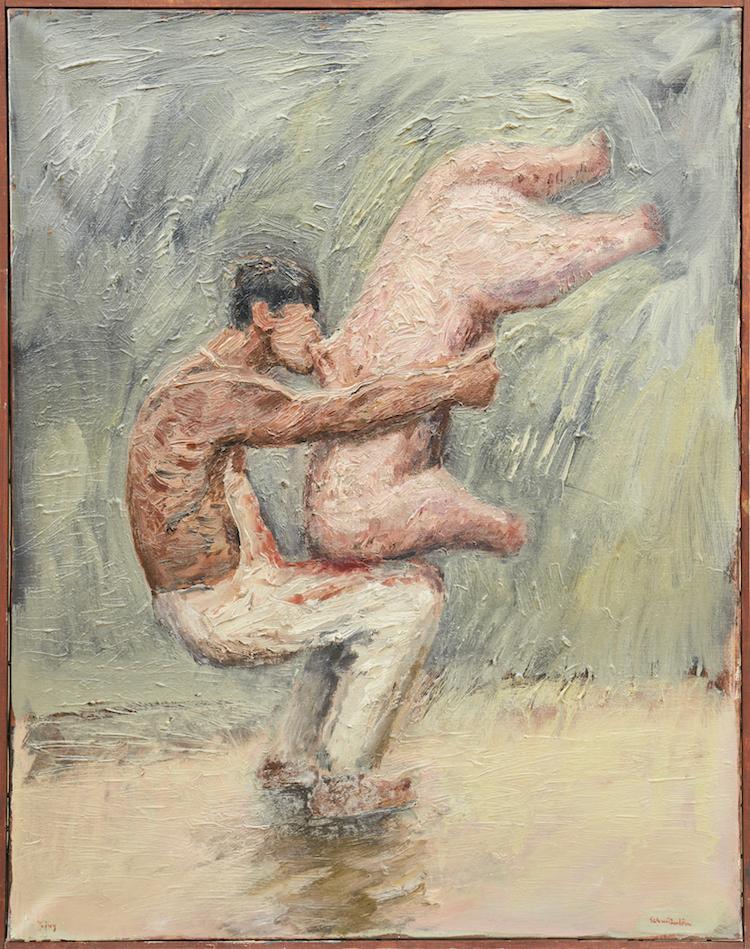 """Schmiterlöws """"Balansakt"""", föreställer slaktaren som omfamnar en djurkropp och använder alla tillåtna medel och kroppsdelar för att lyckas med förflyttningen av kroppen. Även denna målning signerad Schmiterlöw Jujuy. Utrop 8-10 000 kronor"""