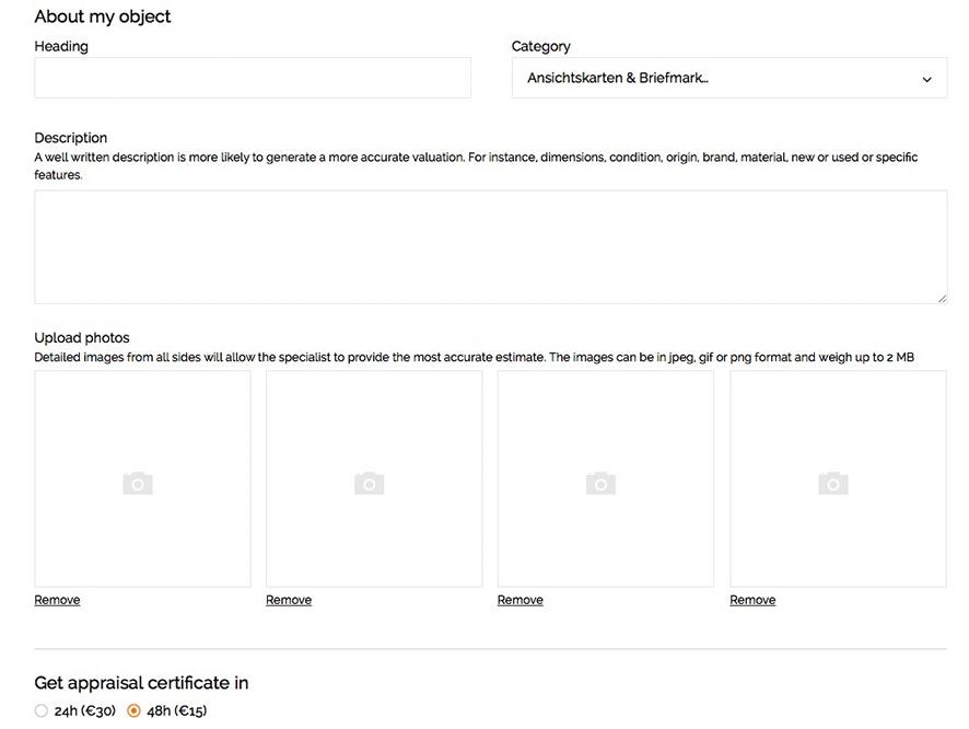 """Um eine Bewertung zu beginnen, loggen Sie sich einfach bei Barnebys' Online Schätzungsservice ein, wo Sie Fotos Ihres Artikels hochladen und Informationen über seinen Zustand, seine Größe usw. angeben. Zahlen Sie und drücken Sie """"Send""""."""