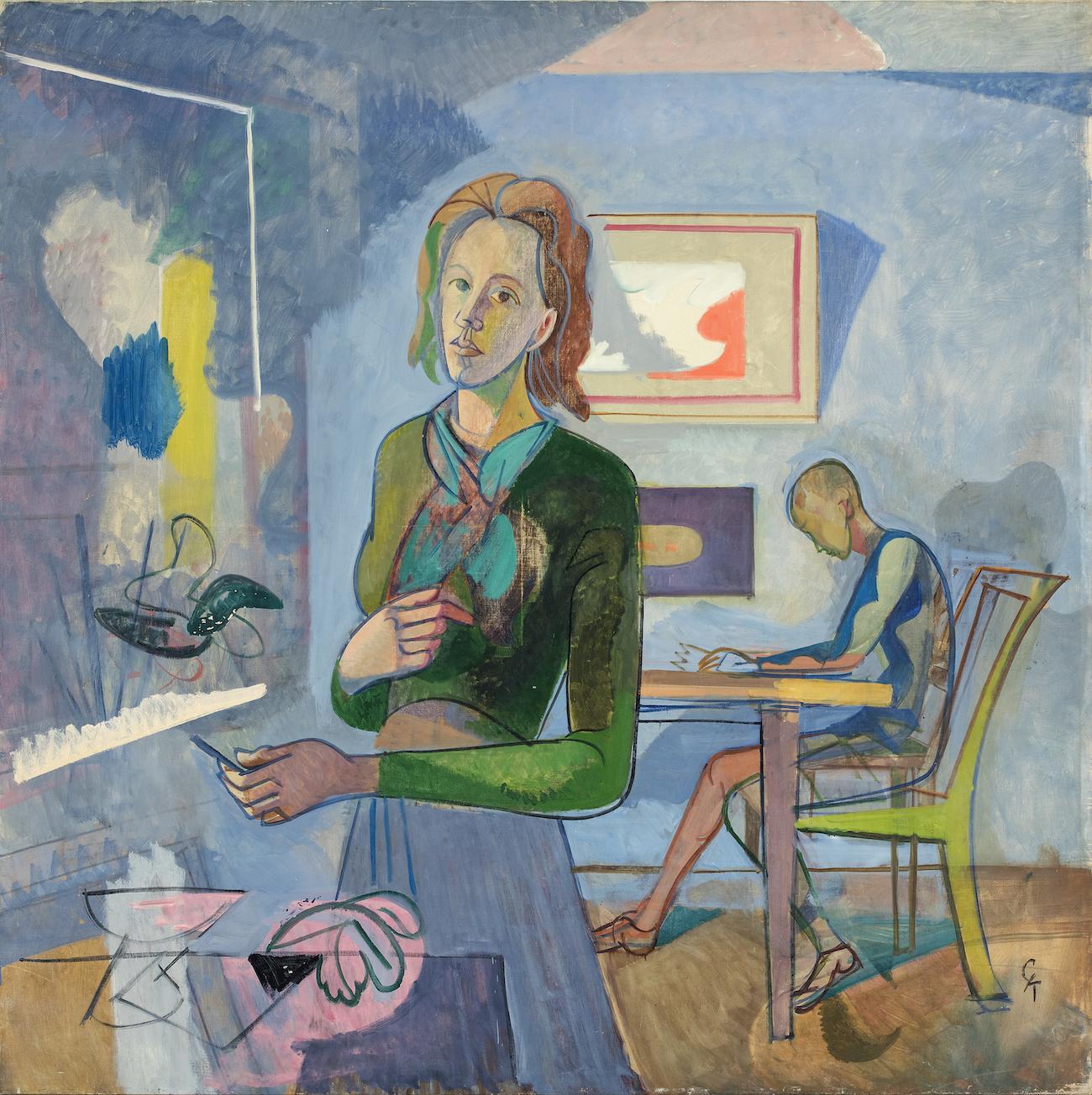Greta Knutson Tzara, Interiör med kvinna och barn, 1940-tal. Bild via Norrköpings Konstmuseum