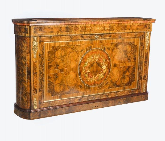 Bespoke Inlaid Burr Walnut & Marquetry TV Plasma Lift Cabinet. Photo: Regent Antiques