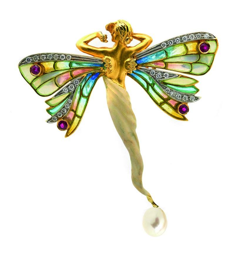 Broche-colgante diseño ninfa de la firma MASRIERA en oro, esmalte, diamantes, rubíes y perla
