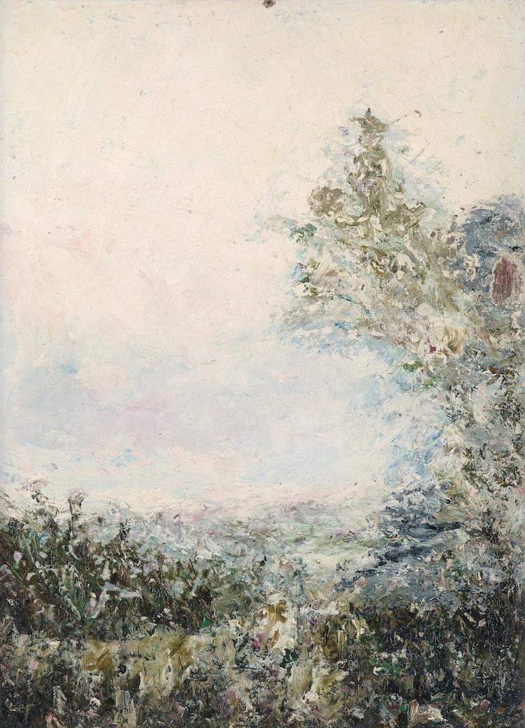 AUGUST STRINDBERG, FANTASILANDSKAP. A tergo signerad August (delvis otydligt pga smärre fuktskada) Strindberg och daterad Paris oktober 1894. Papp-pannå