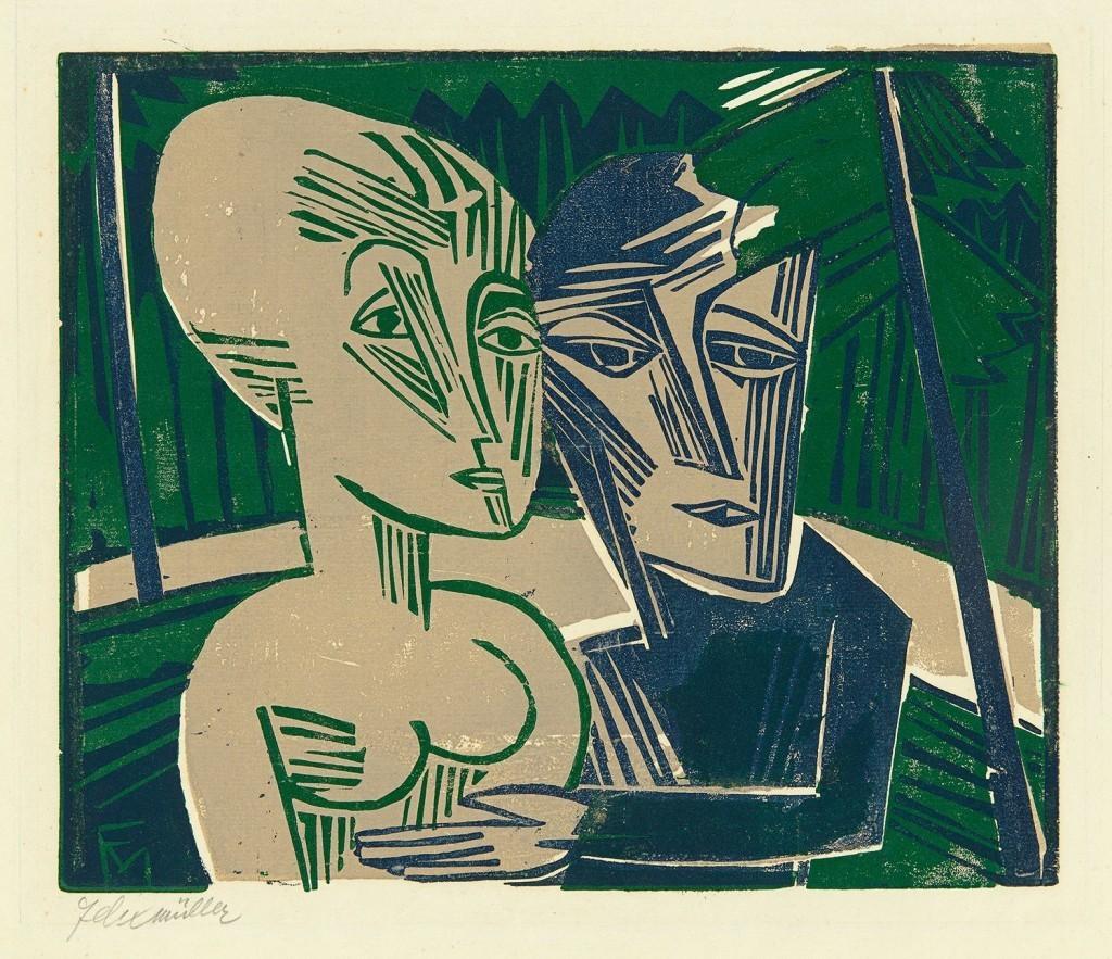 CONRAD FELIXMÜLLER (Dresde 1897 - 1977 Berlin) - gravure sur bois / peinte à la main, signée, 1918