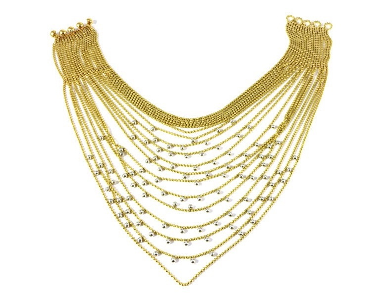 Yellow and white gold necklace with diamonds (approx. 5 ct)