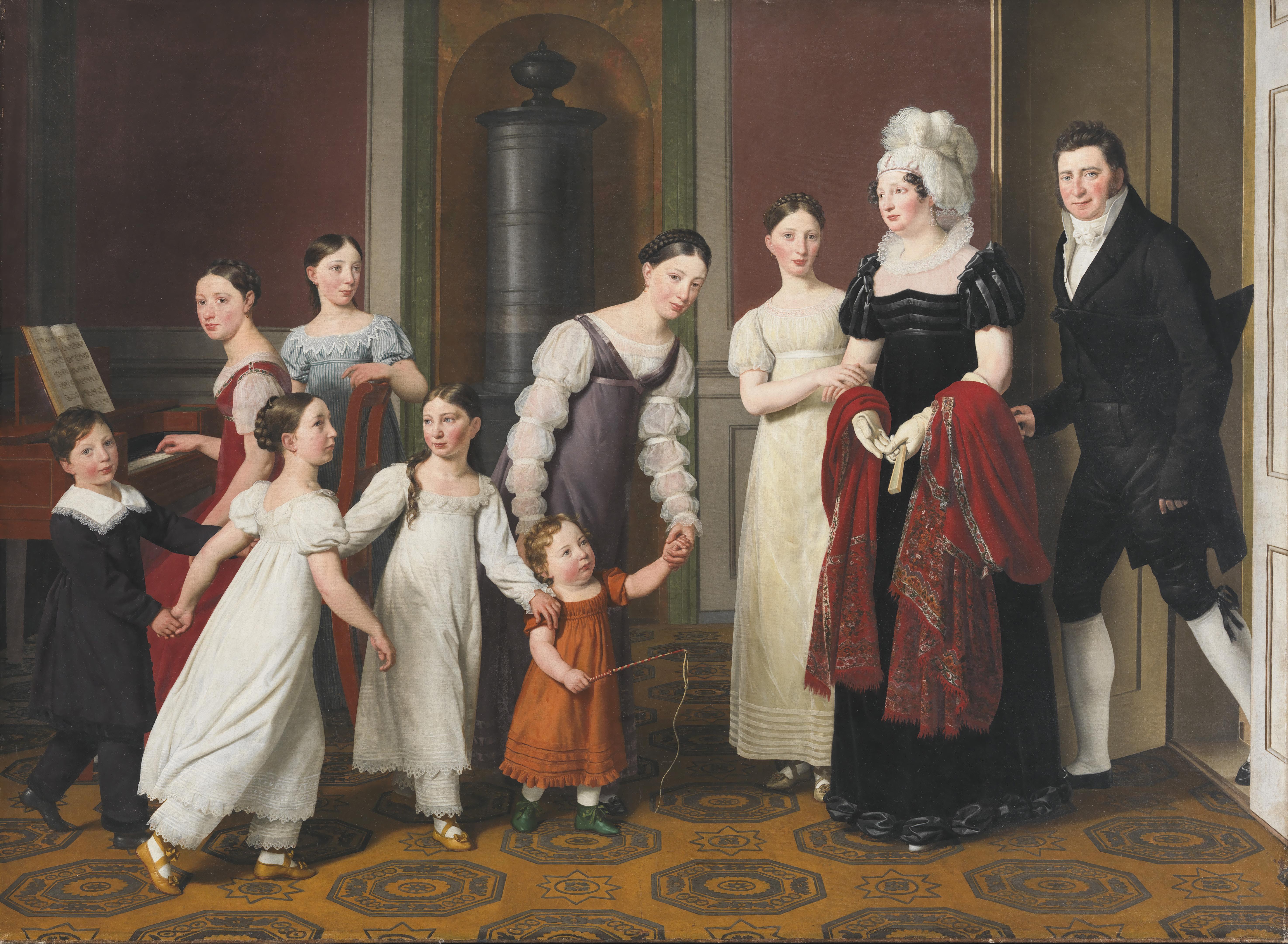 """Christoffer Wilhelm Eckersberg, """"Familjen Nathanson"""", 1818. Olja på duk. SMK, Statens Museum for Kunst."""