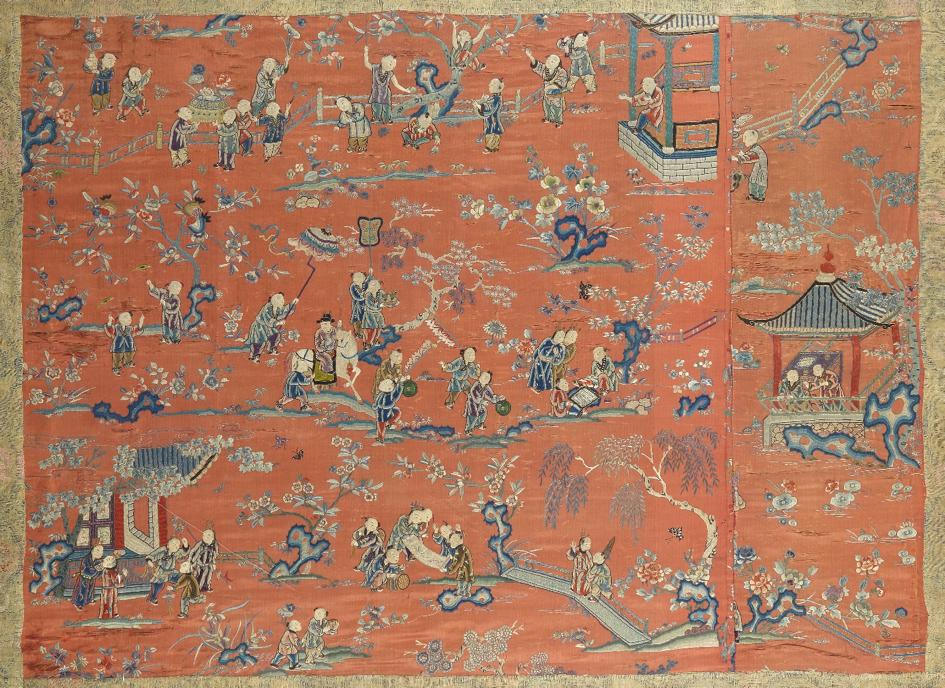 中国十八世纪末 百子图 - Dim. à vue: 89 x 124 cm. - 估价 1000-1500€