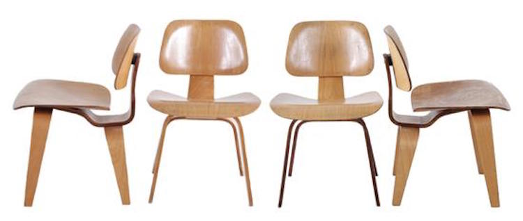 Charles and Ray Eames DCW chairs, set of four. Estimate $800 - $1,200. Photo via Charlton Hall