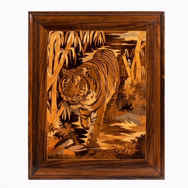 Art Deco Intarsia Wood Panel of a Tiger. Photo: Wick Antiques