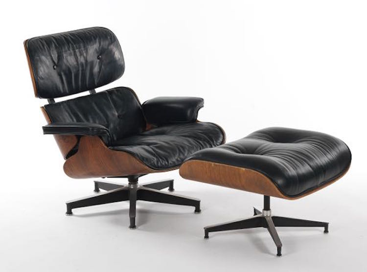 Herman Miller Eames 670/671 Lounge Chair and Ottoman. Estimate $1,500 - $2,500. Photo via Aspire Auctions
