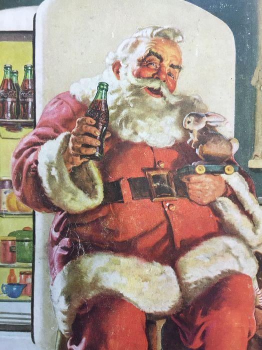 Publicité américaine Coca Cola avec le père Noël, sur papier, années 1930 - 1950