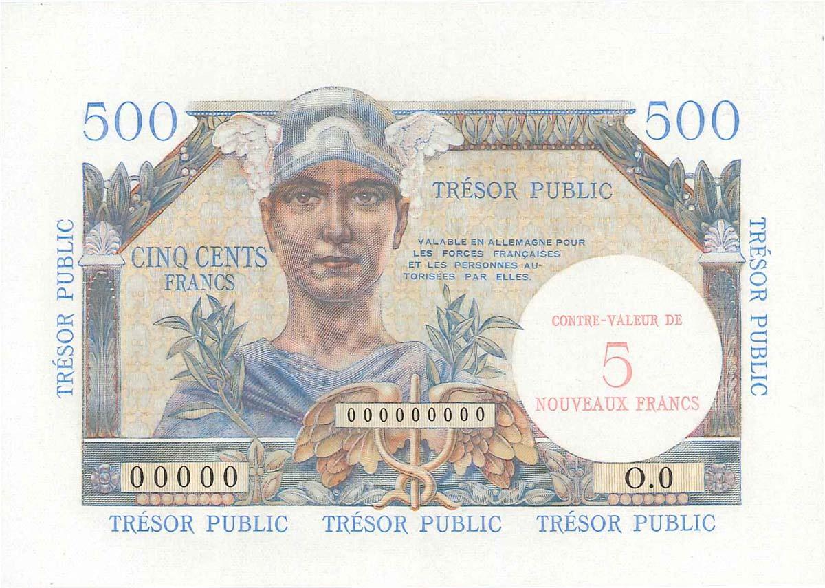 5NF sur 500 Francs TRÉSOR PUBLIC FRANCE 1960 VF.37.01