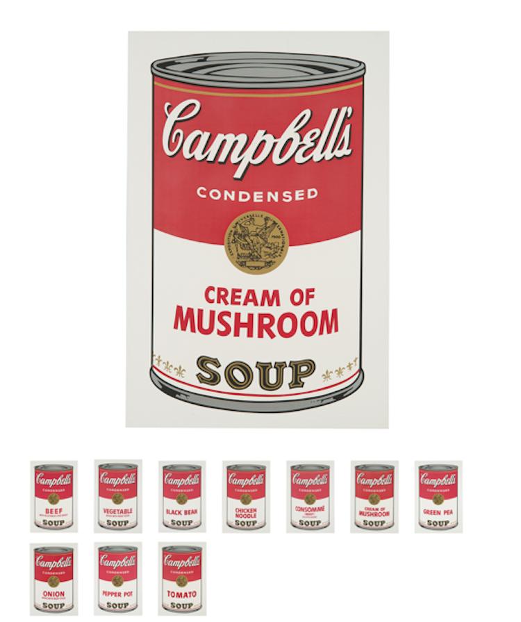"""Los Angeles Modern Auctions som ofta säljer skandinavisk design på sina auktioner säljer Andy Warhols berömda serie """"Campbell's Soup I"""" från 1968. Den kompletta serien består av tio screenprints på papper och har en upplaga på 250, varav detta är nummer 179. Utropet är 400-600 000 dollar"""
