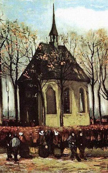 Vincent van Gogh, Församlingen lämnar den reformerta kyrkan i Nuenen, 1884.