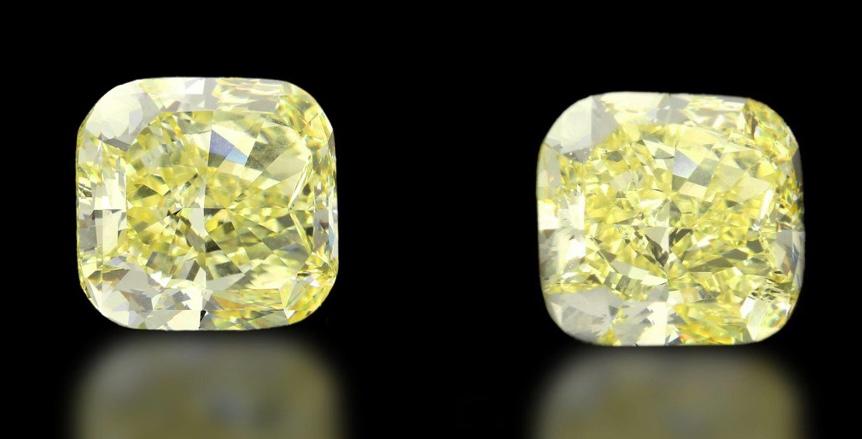 Link: Diamant in Natural Fancy Yellow, Cushion-Cut, 8,18 ct Rechts: Diamant in Natural Fancy Yellow, Cushion-Cut, 8,16 ct
