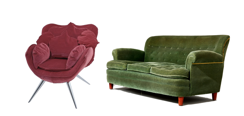"""Stol """"Rose Stolar"""" utformad v. Masanori Umeda. Ehrl Fine Art & Antiques. Soffa. Josef Frank för Firma Svenskt Tenn. Uppsala Auktionskammare."""