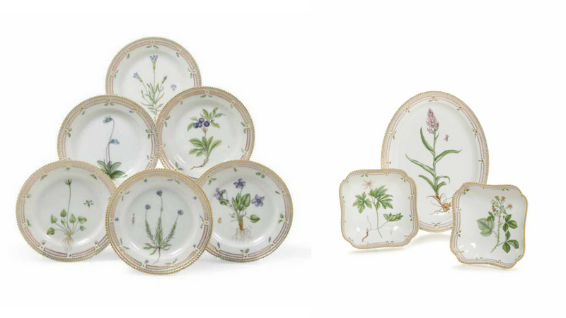 """ROYAL COPENHAGEN Links: 6 Dessertteller """"Flora Danica"""", 2. Hälfte 20. Jh. Rechts: 1 ovale Platte und 2 quadratische Schalen """"Flora Danica"""", 1972/73"""