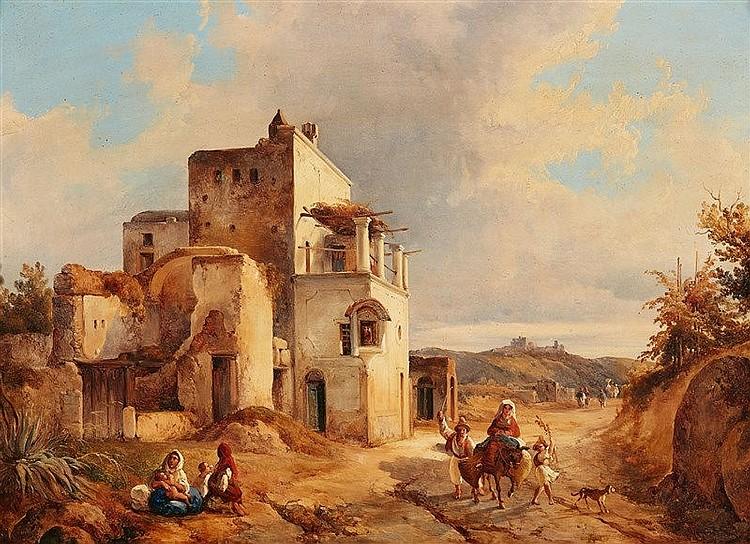 CONSALVO CARELLI (1818 Arenella/Neapel - 1900 Neapel) - Südliche Landschaft mit Reisenden, Öl/Holz, signiert und datiert, 1840