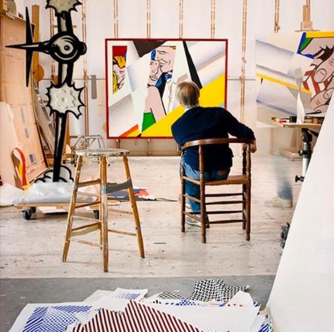 Roy Lichtenstein i sin studio, 1990. Foto: Laurie Lambrecht