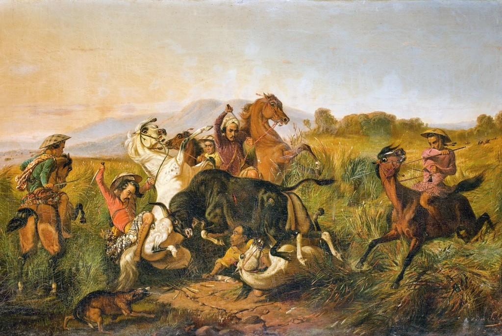 Raden Saleh, Wild Bull Hunting (Bateng), 1855. Foto: The Jakarta Post.