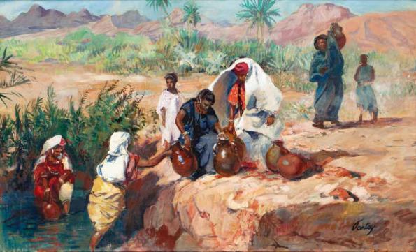 Lot 146 Henri Pontoy Porteuses d'eau au bord de l'Oued Huile sur toile, signée en bas à droite. 59 x 100 cm Estimation: 15000/20000€