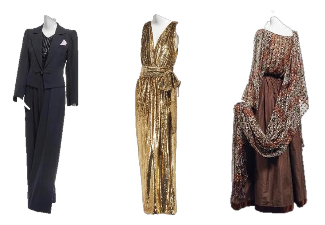 Créations YSL : Smoking, robe en velour métallisé et ensemble en gazar, images ©Christie's