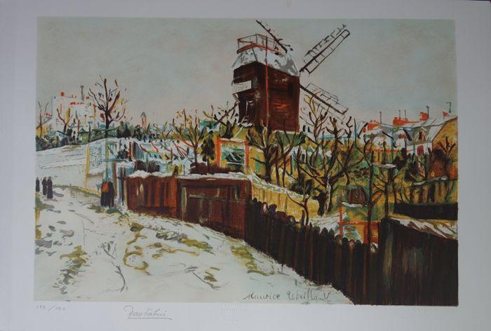 nach MAURICE UTRILLO (1883-1955) - Le Moulin de la Galette vu de la Fric, Lithografie, signiert