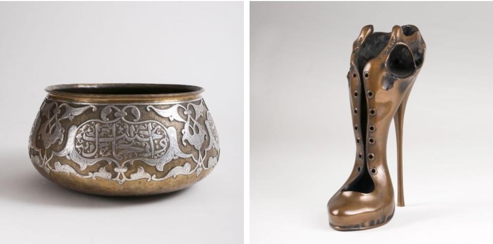 Links: Große Schale im Mamluk-Stil aus Messing mit Silbertauschierung, Naher Osten 19. Jh. Rechts: PAUL WUNDERLICH (1927 Eberswalde - 2010 Saint-Pierre-de-Vassols) - Schädelschuh, Bronze, signiert, 1976