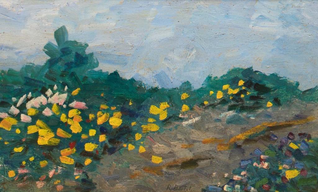 RUDOLF BARTELS (1872 Schwaan-1943 Rostock) - Blühender Ginster, Öl/Malerpappe, signiert Limit: 2.000 EUR
