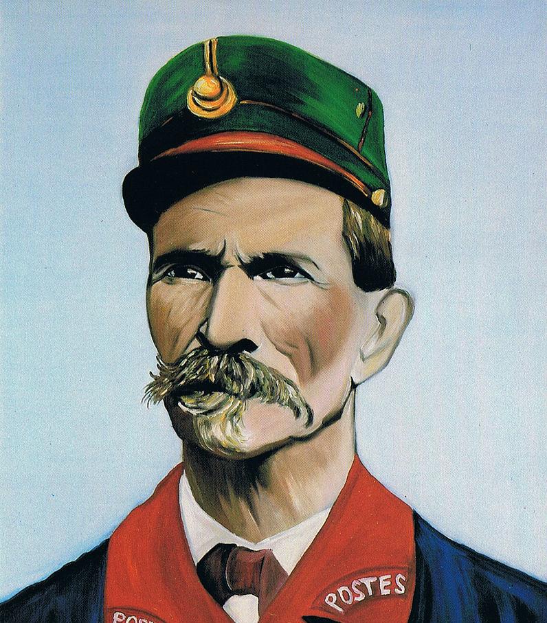 Portrait par Coco peintre du facteur Cheval Palais Idéal 1987, image via Wikipedia