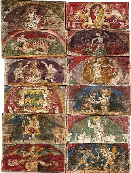 Lombardische Schule - 78 Tafeln einer bemalten Holzdecke, wohl Tempera/Holz, unterschiedliche Formate, je ca. 18,5 x 44 cm, 16. Jh. Schätzpreis: 20.000 EUR