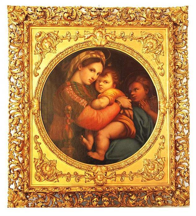 Madonna mit Kind und dem Heiligen Johannes der Täufer, nach einem Gemälde von Raffael, Öl/Lwd., prunkvoll gerahmt, 107 x 119 cm, Ende 19. Jh. Mindestpreis: 500 EUR