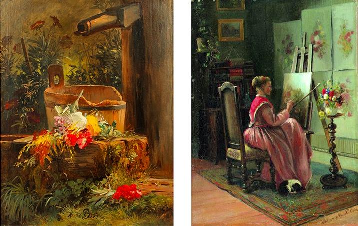 """Links: Anna Peters (1843 Mannheim - 1926 Stuttgart), """"Blumen am Gartenbrunnen"""", Öl/Lwd./Holz, signiert Rechts: Anna Peters bei der Arbeit, festgehalten von ihrer Schwester Pietronella Peters um 1870"""