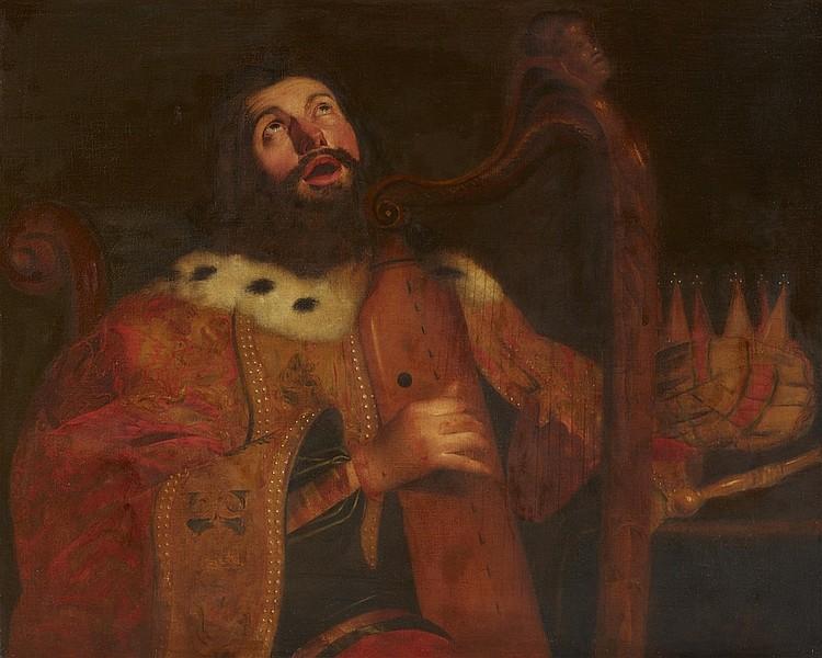 Antwerpener Meister des 17. Jhs. - König David die Harfe spielend, Öl/Lwd.