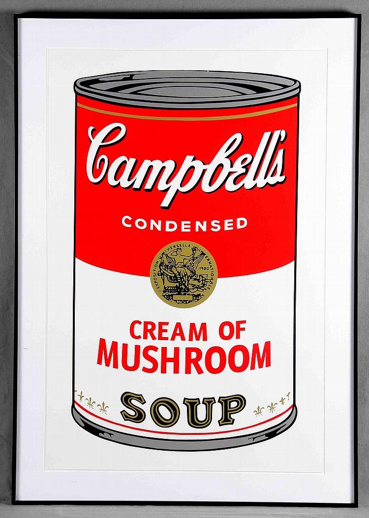 "ANDY WARHOL. ""Campbell's Soup Can 11.53. Cream of Mushroom"". Litografía (1988)"