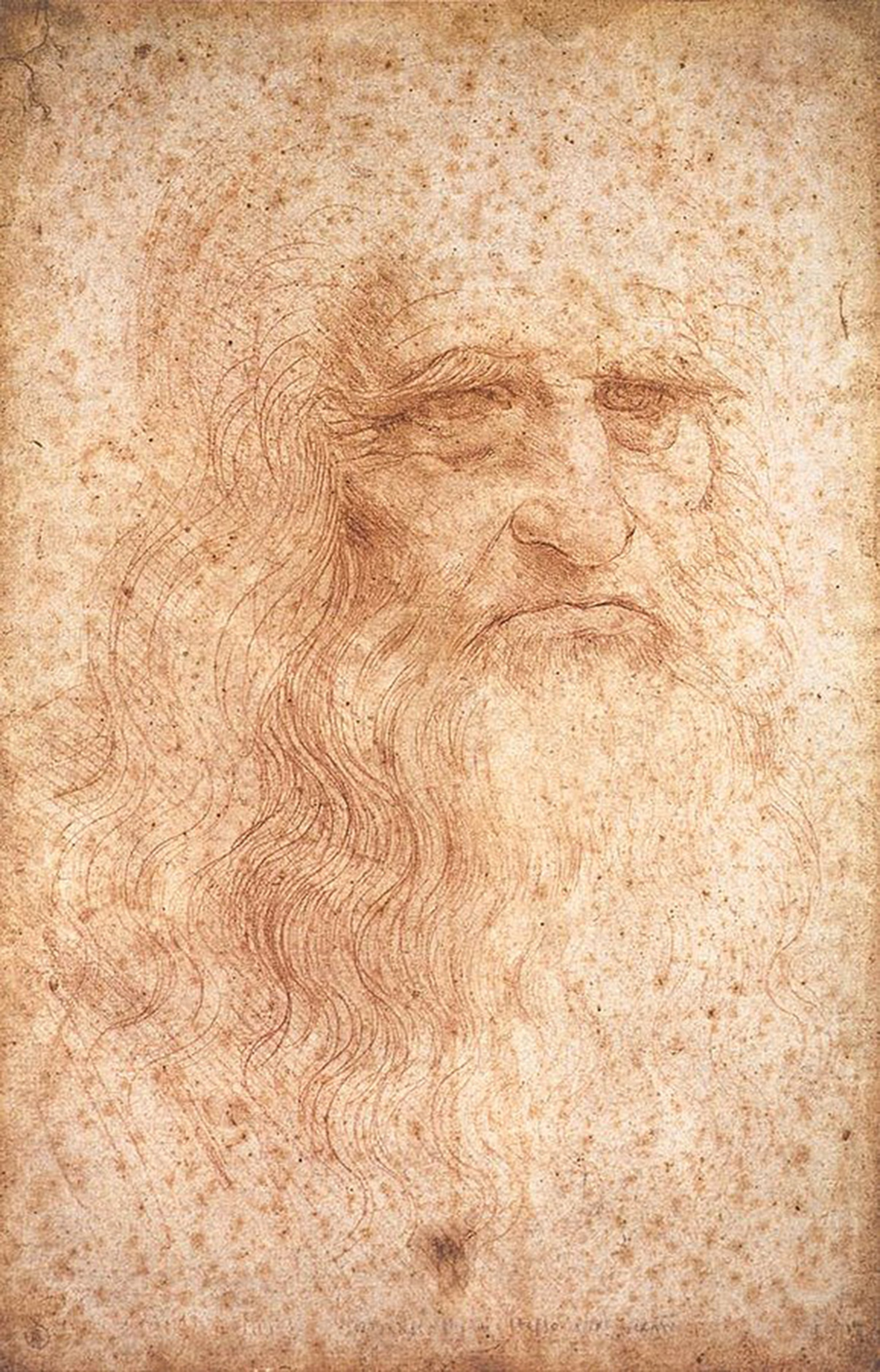 "The red chalk drawing from around 1512, which is in the Biblioteca Reale in Turin, is generally referred to as the ""Self-Portrait of Leonardo da Vinci."" Image via Wikimedia Commons"
