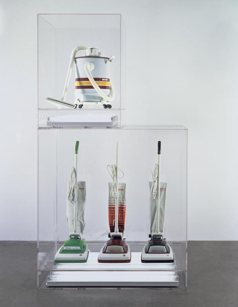 New Hoover Convertibles, Green, Red, Brown, New Shelton Wet/Dry 10 Gallon Displaced Doubledecker 1981-7 Jeff Koons born 1955 ARTIST ROOMS Acquired jointly with the National Galleries of Scotland through The d'Offay Donation with assistance from the National Heritage Memorial Fund and the Art Fund 2008 http://www.tate.org.uk/art/work/AR00077