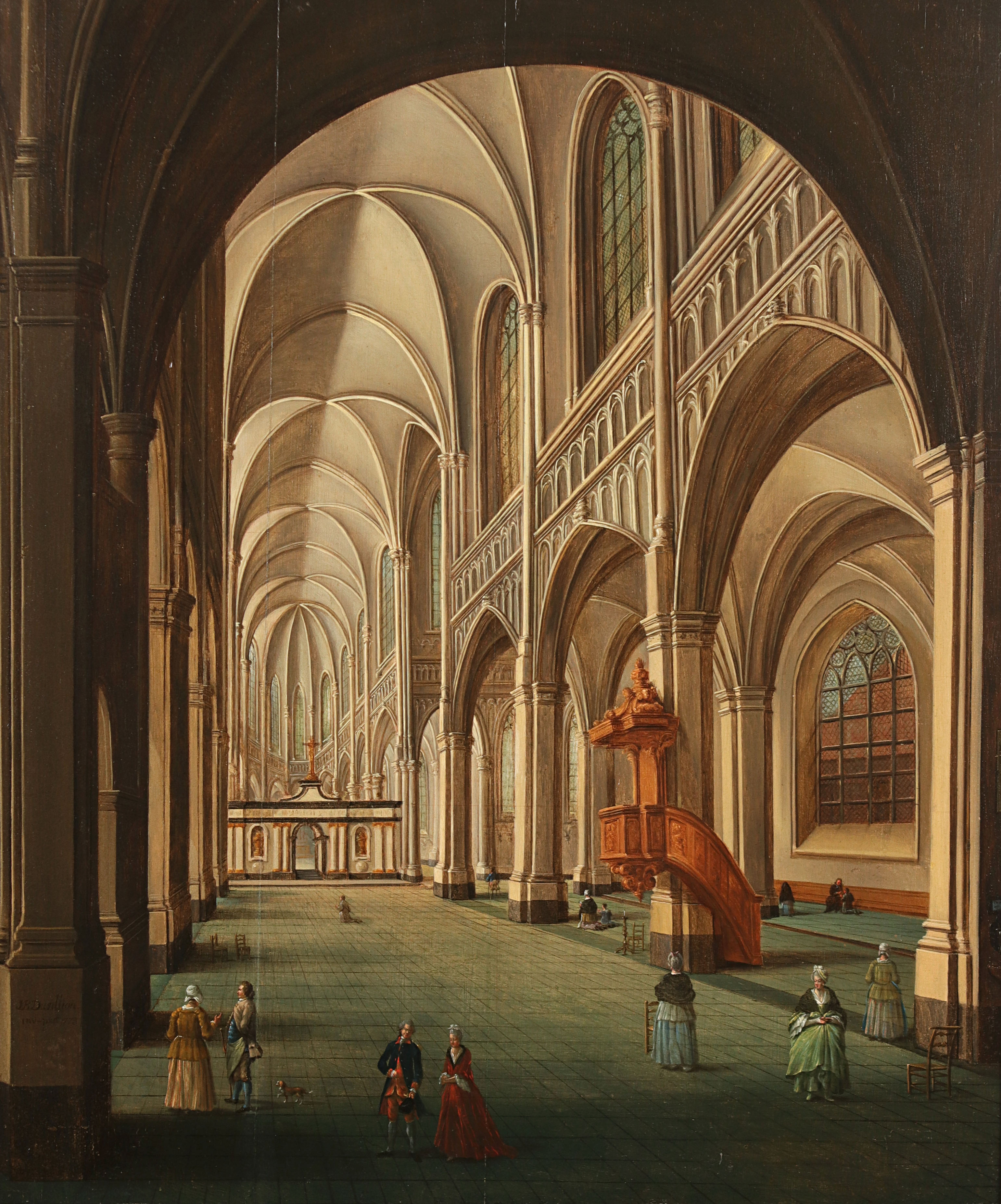 Jean-Baptiste Dussillon, 'Church Interior', oil on panel. Photo: Hessink's