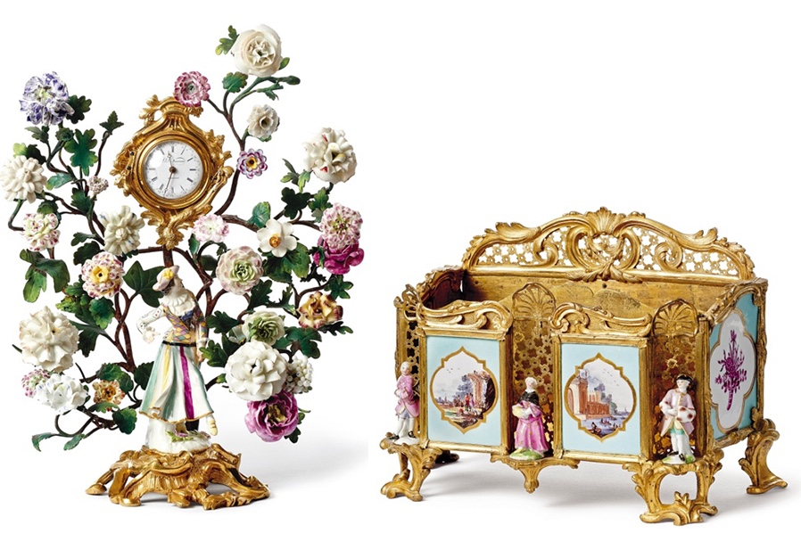 """Links: MEISSEN - Figurenuhr """"Columbine"""" in Ormolu-Montierung, Meißen/Frankreich um 1745/50 Rechts: MEISSEN - Porte-Lettre, Porzellan, vergoldete Bronze, Meißen/Frankreich Mitte 18. Jh."""