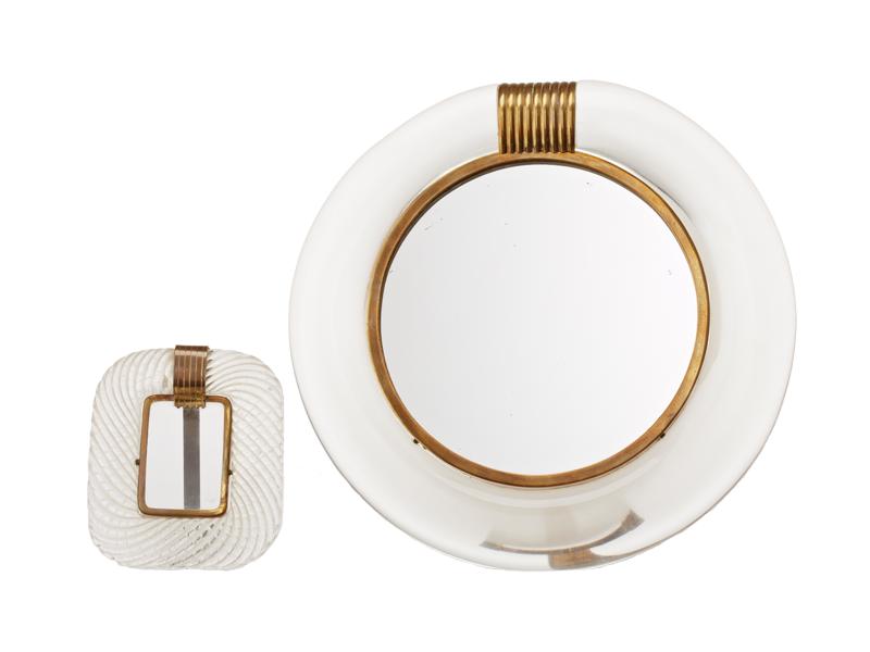 Fotoram samt spegel 1900-talets mitt. Glas samt mässing. Murano. Utrop: 2,000 Sek. Uppsala Auktionskammare