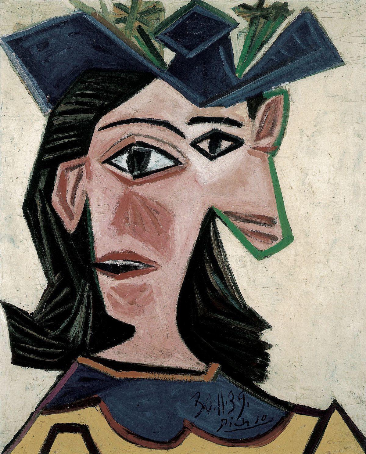 Pablo Picasso, Buste de femme au chapeau (Dora), 1939 (Détail), huile sur toile, 55 x 46,5 cm, photo Peter Schibli, Basel © 2018 Succession Picasso / ProLitteris, Zurich
