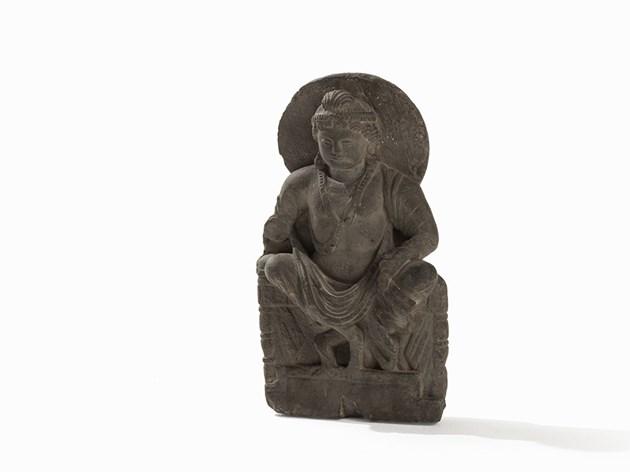 Gandhara Relief avec Bouddha assis sur un trône, II ou IIIè siècle.