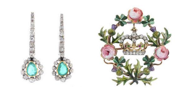 Till vänster: Georgianska silverörhängen. Till höger: Brosch i guld med diamanter, rubiner och demantoid.