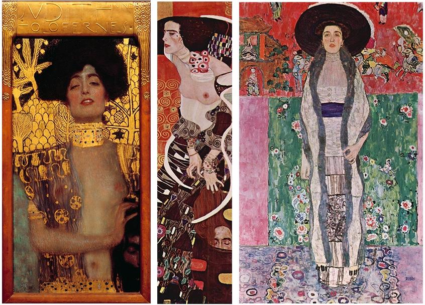 GUSTAV KLIMT (1862-1918) Links: Judith I (1901) Mitte: Judith II (1909) Rechts: Adele Bloch-Bauer II (1912) | Alle Abb. via Wikipedia