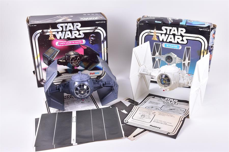 A 1977 Star Wars Darth Vader Tie Fighter and a Tie Fighter by Palitoy. Photo: Dawson's Auctioneers