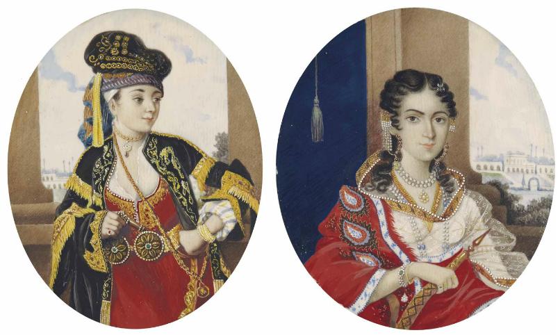 Deux Portraits Sur Ivoire D'europeennes En Costume Orientaux Inde Du Nord, Vers 1860 Christie's