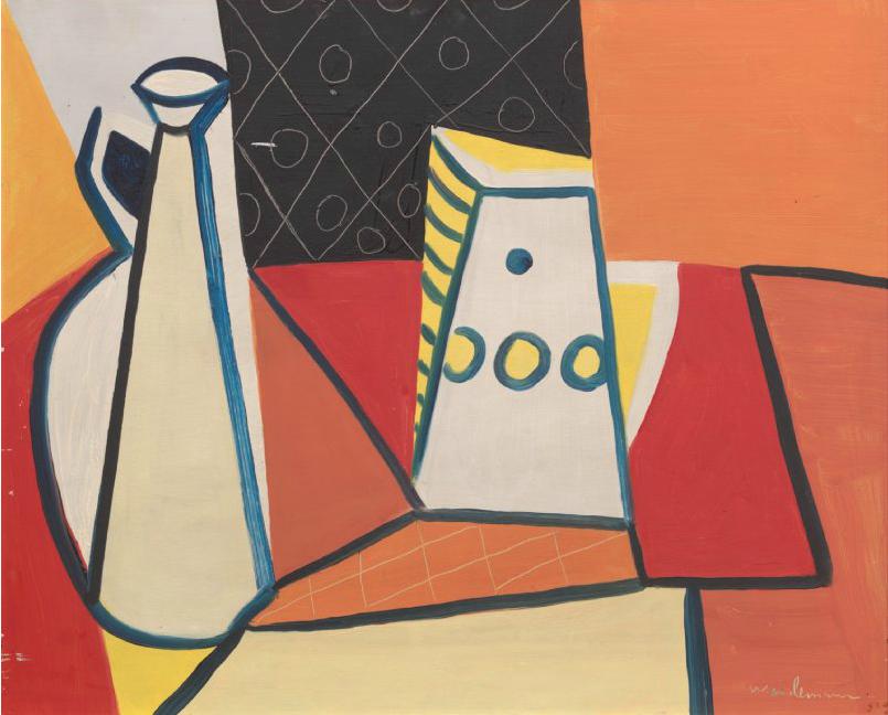 """Jakob Weidemann """"Oppstilling"""". År 1950 höll Weidemann en utställning i Konstnärshuset som visade bilder av både figurativt och abstrakt-geometrisk karaktär. Denna dualism karaktäriseras Weidemanns konst under 1950-talet. Blomqvist."""