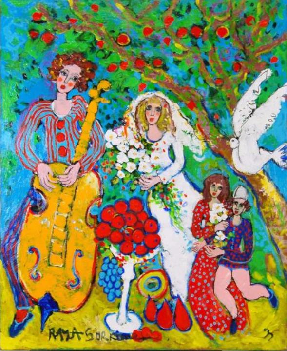 Raya Sorkine Le Bonheur sous le grand arbre Huile sur toile 100x81 cm. Signée en bas à gauche Estimation :12 000 - 15 000 €