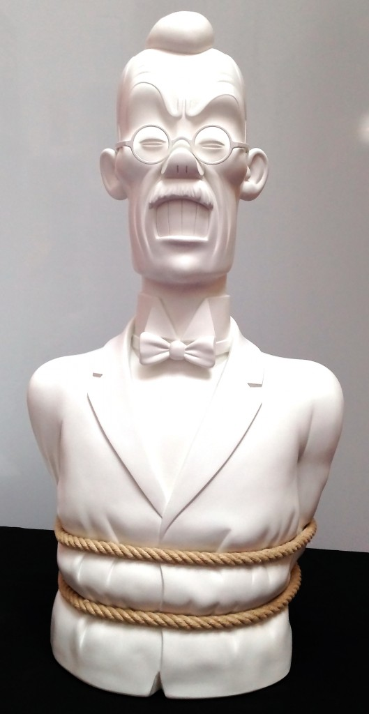 Jean-Marie Pigeon, Tintin, le buste de Mitsuhirato, Le Lotus bleu, exemplaire en plâtre monochrome blanc ciré façon marbre de carrare, réel cordage, 1989, 80 cm, signé