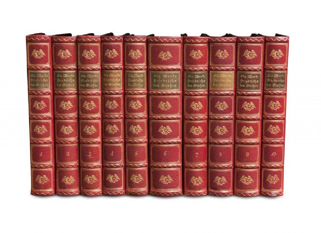 Die Werke Friedrichs des Großen, deutsche Übersetzung, 10 Bde., hg. von G. B. Volz, Berlin, Hobbing, 1913-1914 Startpreis: 1.600 EUR